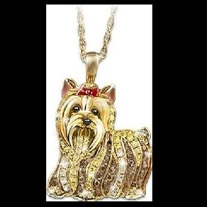 925 Gold/Over Yorkshire Yorkie Dog Charm Necklace